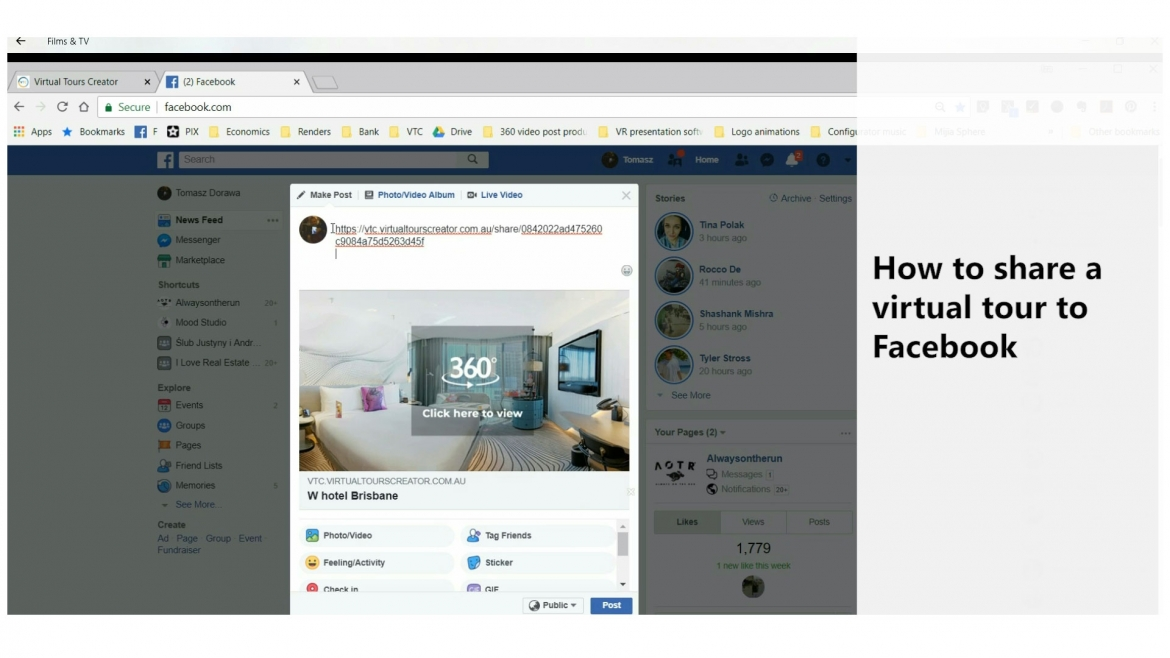 How to share a virtual tour to Facebook