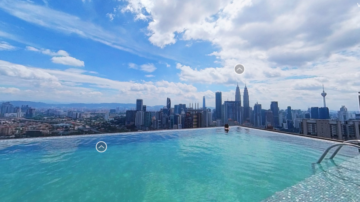 Best rooftops and pools in Kuala Lumpur as a virtual tour | Petronas Towers 360 aerial panorama